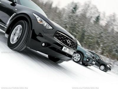 Infiniti FX35, BMW X6 и Mercedes-Benz ML 350. Фото Степана Шумахера с сайта autoreview.ru
