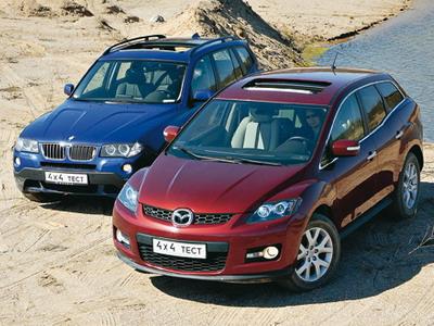 BMW X3 и Mazda CX-7. Фото Александра Страхова-Баранова с сайта media.club4x4.ru