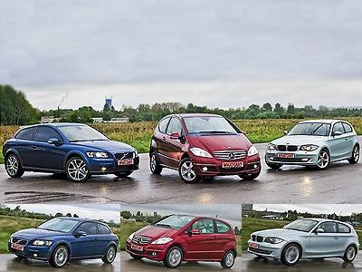 Volvo C30, Mercedes-Benz A-class, BMW 1 Series. Фото с сайта whatcar.ru.