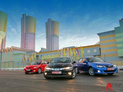 Honda Civic 1.8, Mazda3 2.0, Subaru Impreza 2.0: драйв в повседневной упаковке