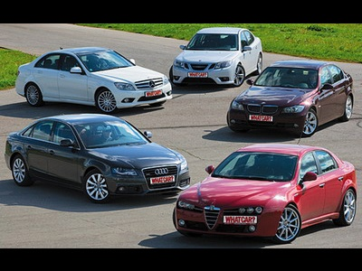Audi A4, Mercedes-Benz C 350, Saab 9-3, Alfa Romeo 159, BMW 330. Фото с сайта whatcar.ru.