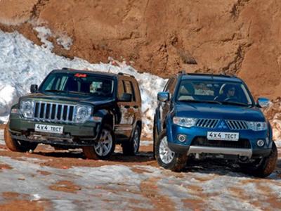 Jeep Cherokee и Mitsubishi Pajero Sport. Фото Александра Страхова-Баранова с сайта media.club4x4.ru