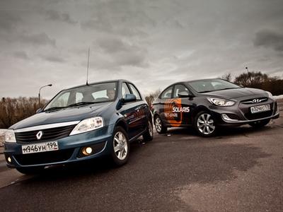 Renault Logan и Hyundai Solaris. Фото с сайта kolesa.ru