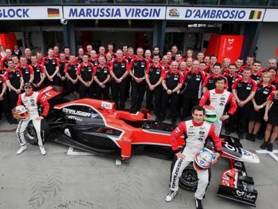 Фрагмент фото команды Marussia Virgin