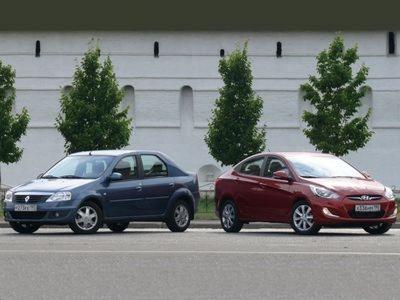 Renault Logan и Hyundai Solaris. Фото с сайта cars.ru