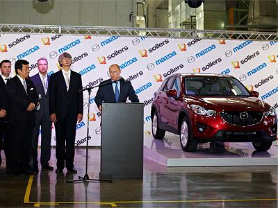 Владимир Путин на церемонии открытия производственного комплекса Sollers и Mazda
