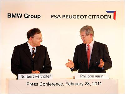 Представители BMW Group и PSA Peugeot Citroen в 2011 года при подписании соглашения о сотрудничестве