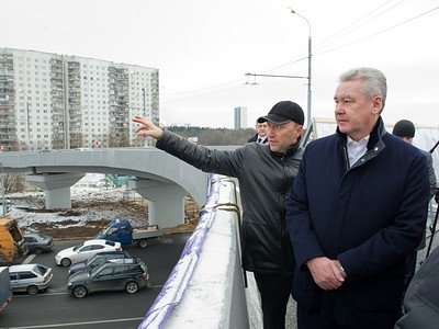 Руководитель департамента строительства Москвы Бочкарев и мэр города Собянин на церемонии открытия эстакады