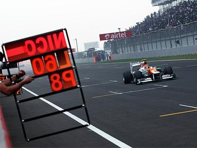 Проводящий последний сезон в Force India Нико Хюлькенберг во время Гран-при Индии