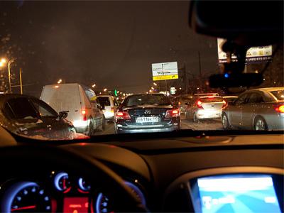 Затор на Варшавском шоссе во вторник, 4 декабря