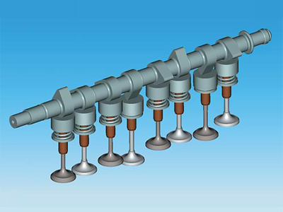 Схема устройства распредвала в современном двигателе