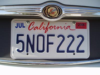Номерная знак в Калифорнии
