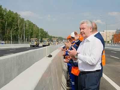 Сергей Собянин на открытии эстакады на Рублевском шоссе