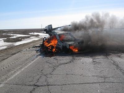 Сгоревший ВАЗ-2107
