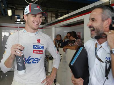Нико Хюлькенберг в боксах Sauber на Гран-при Италии
