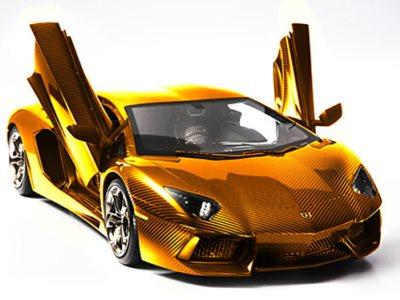 Золотая масштабная модель Lamborghini Aventador