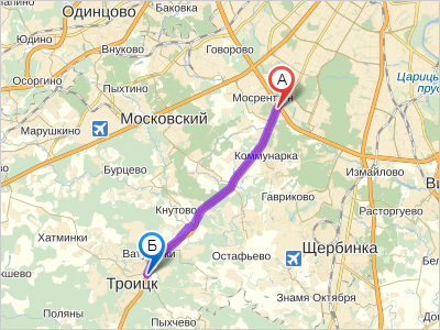 Реконструируемый на первом этапе участок Калужского шоссе
