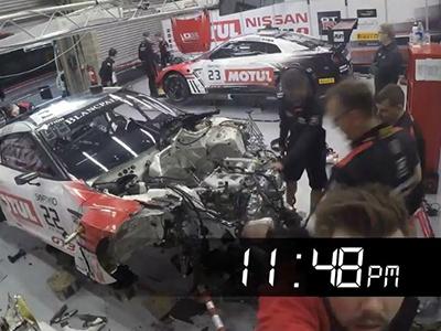 12-часовой ремонт гоночного Ниссан GT-R уместили вминутное видео