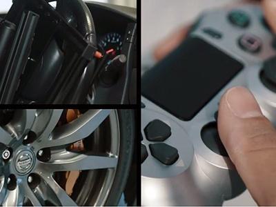 Гонщик протестировал геймпад отPS4, управляя суперкаром Ниссан GT-R свертолета