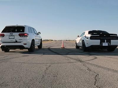 Jeep Grand Cherokee Trackhawk иDodge Challenger сразились вдрэге