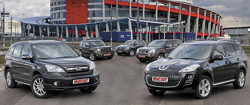 Honda CR-V, Jeep Liberty, Toyota RAV4, Nissan X-Trail, Peugeot 4007. Фото с сайта whatcar.ru.