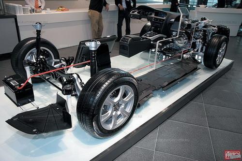 Защитные пластиковые щитки на днище плюс удлиненные амортизаторы и пружины для увеличения клиренса на 37 мм и расширенная на 20 мм колея — оптимальный «пакет для плохих дорог», которым не грех оснастить все Audi A4, поставляемые в Россию, а не только Allroad. Управляемость от его установки не страдает